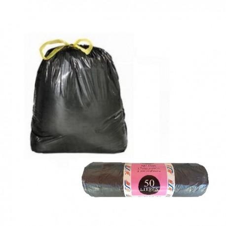 Lot de 15 sacs poubelle à liens coulissants 50L