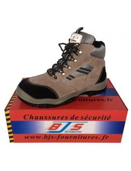 Chaussures hautes de sécurité en cuir et velours BJS
