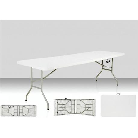 Table rectangulaire dimension 240 cm x 76 cm, pliante en malette