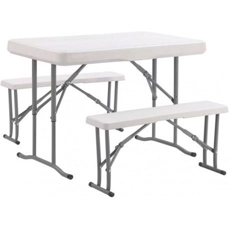 Table pliante pique nique + 2 bancs