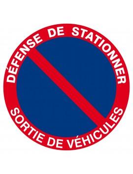"""Panneau PS choc """"défense de stationner sortie de véhicules"""""""