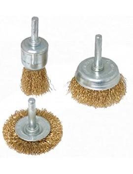 Brosses et roues à fils d'acier laitonnés 3 pcs