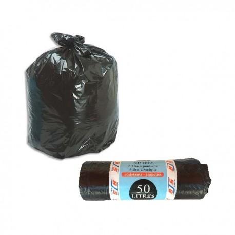 Lot de 20 sacs poubelle, liens classiques, 50L